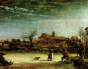Rembrandt Van Rijn - Winter scene, Oil on canvas, Staatlische Gem
