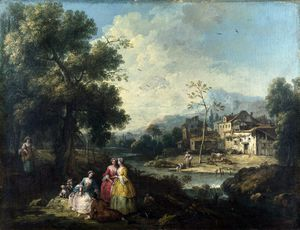 Giuseppe Zais - Landscape with a Group of Figures