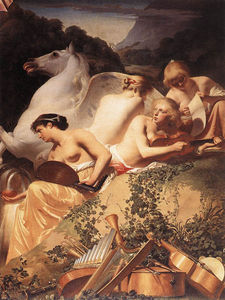 Caesar Van Everdingen (Cesar Pietersz) - The four muses with pegasus
