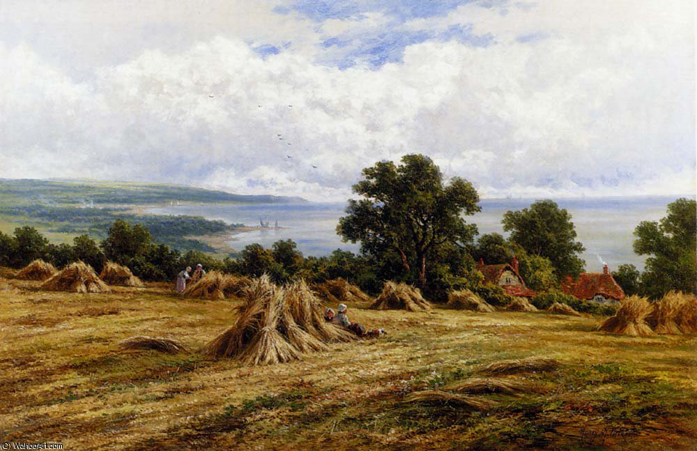 Order Reproductions | H harvesting by the sea by Henry Hillier Parker | AllPaintingsStore.com