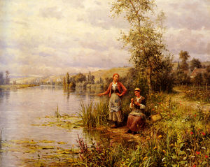 Louis Aston Knight - Country women after fishing on a summer afternoon
