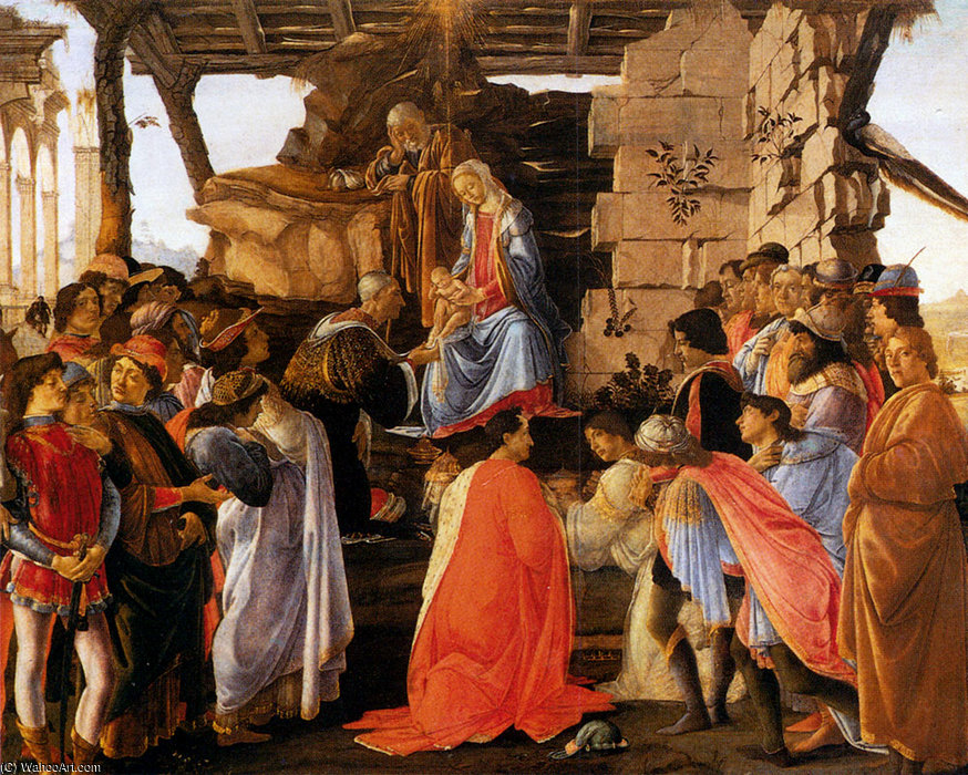 famous painting Sadro adoration of the magi of Sandro Botticelli