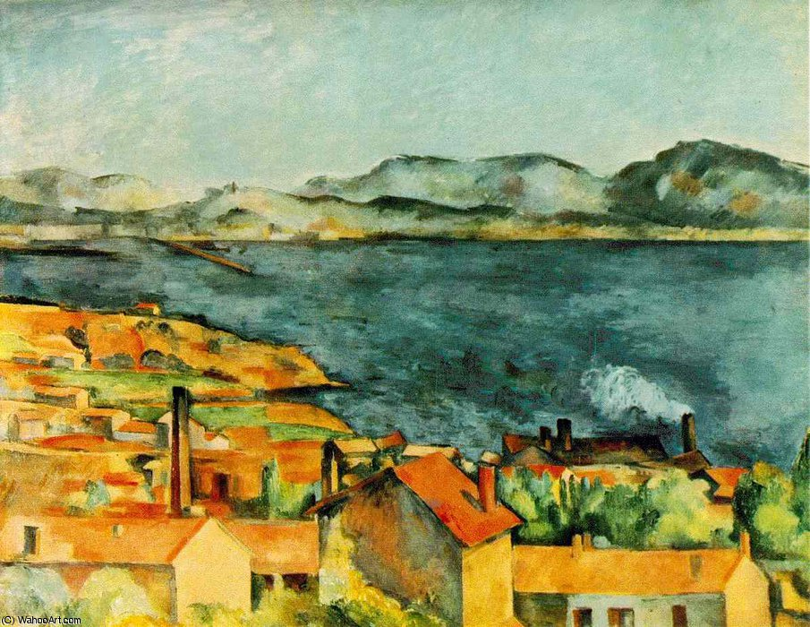 famous painting The bay from l'estaque of Paul Cezanne