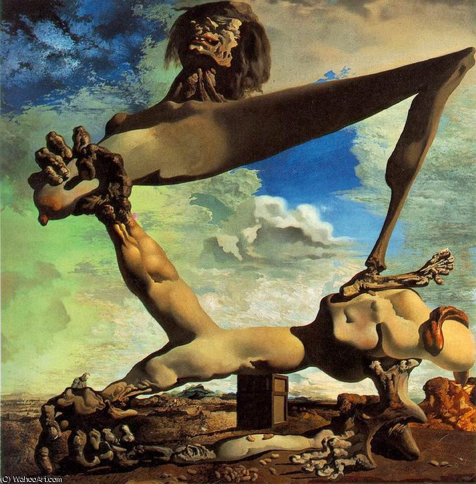 famous painting Dalí soft construction with boiled beans - premonition of civ of Salvador Dali