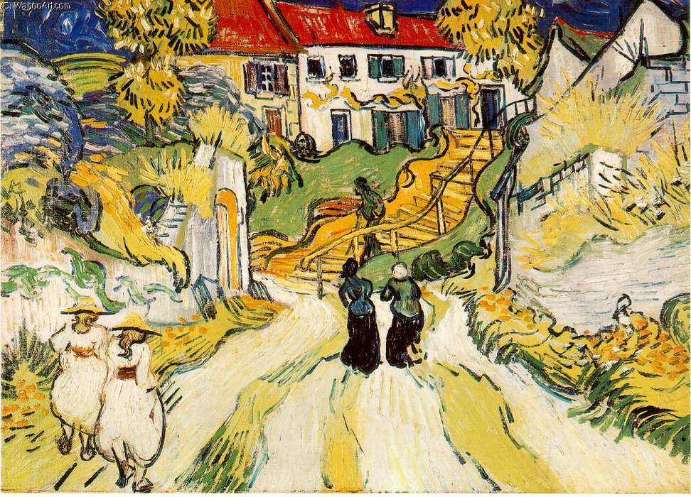 famous painting Village stairs of Vincent Van Gogh