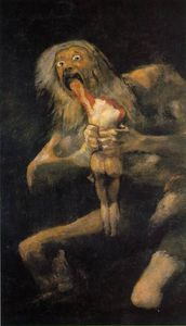 Francisco De Goya - Saturn, ca Oil on plaster remounted