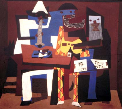 famous painting Los tres músicos of Pablo Picasso