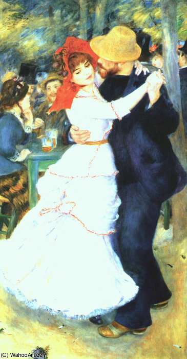 Buy Museum Art Reproductions | Dance at Bougival, oil on canvas, Museum of Fin by Pierre-Auguste Renoir | AllPaintingsStore.com