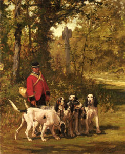 Charles Olivier De Penne - A Huntmaster with his Dogs on a Forest Trail