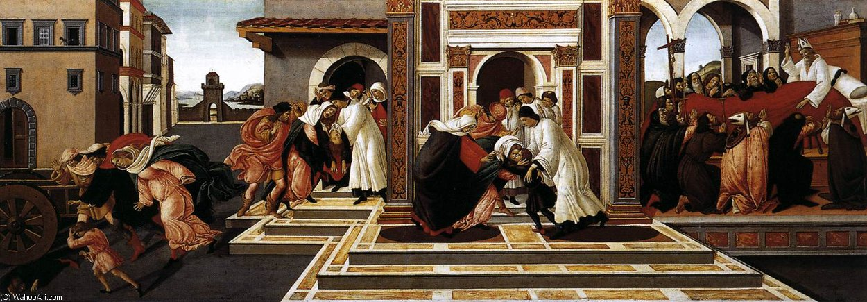 famous painting Last Miracle and the Death of St Zenobius of Sandro Botticelli