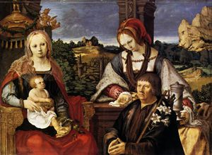 Lucas Van Leyden - Paintings-Virgin and Child with the Magdalen and a Donor