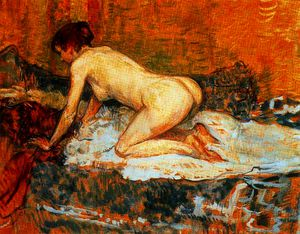 Henri De Toulouse Lautrec - Crouching woman red hair