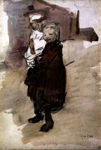 Isaac Lazarus Israels - Girl and Child