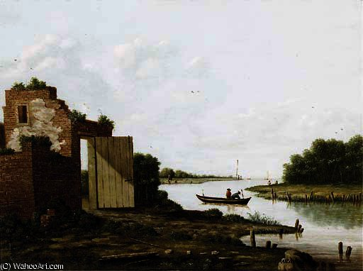 famous painting A ruin by a river of Antoine De Saaijer Waldorp