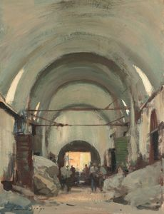 Edward Seago - In the Covered Wool Market, Istanbul
