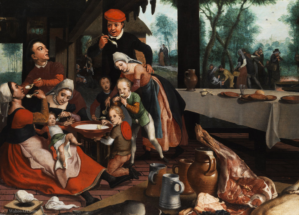 famous painting Family eating together. of Pieter Pietersz