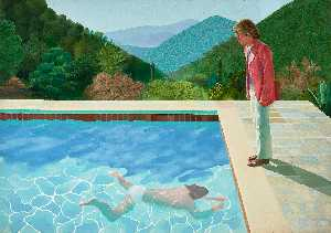 David Hockney - Portrait of an artist pool with two figures