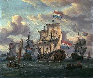 Abraham Storck (Sturckenburch) - The Frigate Pieter en Paul on the IJ