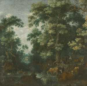 Gillis Claesz De Hondecoeter - A wooded landscape with deer and cattle by a river, a sleeping herdsman nearby
