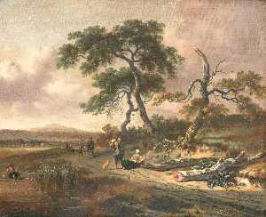 Jan Jansz Wijnants - Landscape with a Pedlar and a Woman Resting