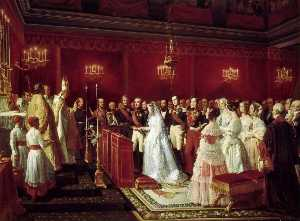 Henri Félix Emmanuel Philippoteaux - The Marriage of Duke of Aumale with Maria Carolina of Bourbon