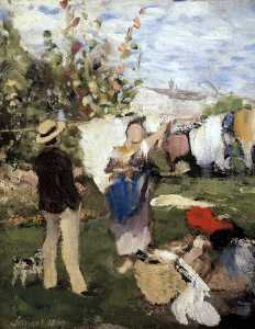 Pal Szinyei Merse - Drying the Clothes