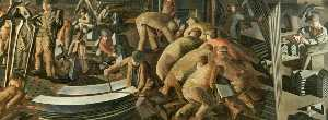 Stanley Spencer - Shipbuilding on the Clyde Bending the Keel Plate (right)