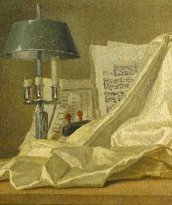 Henri Horace Roland De La Porte - A still life with a bouillette lamp, a sheet of music, a violin and a white satin cloth on a stone ledge