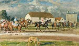 Alfred James Munnings - Horses with Stable Lads up at Newmarket