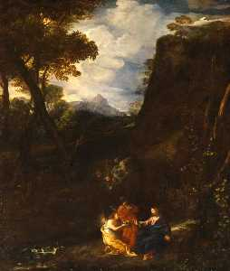 Pier Francesco Mola - Landscape with Christ and Two Angels