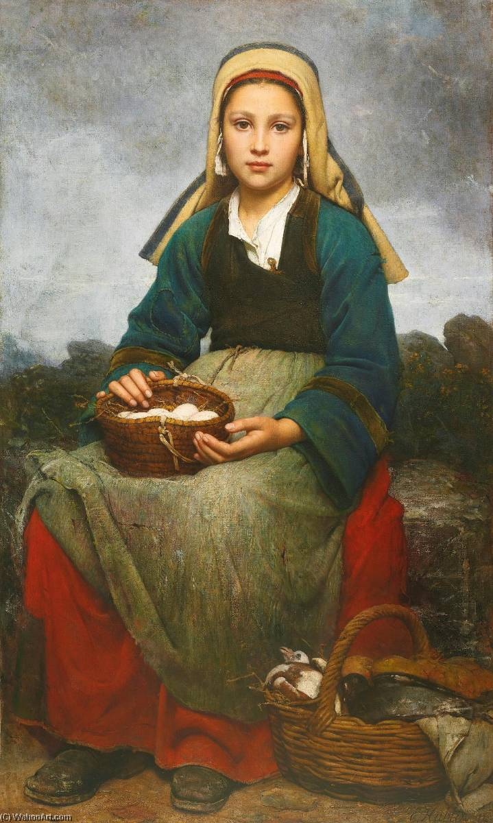 famous painting A young girl holding a basket of eggs of Emile Auguste Hublin