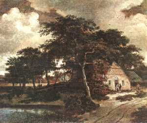 Meyndert Hobbema - Landscape with a Hut