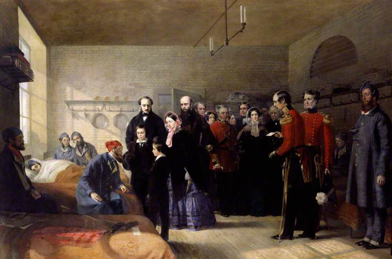 famous painting Queen Victoria's First Visit to her Wounded Soldiers of Jerry Barrett