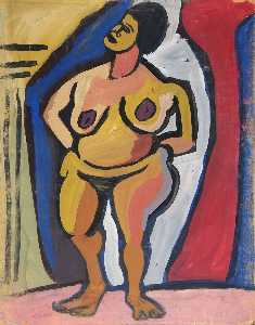 William Henry Johnson - Standing Female Nude with Hands on Hips