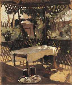 Winston Spencer Churchill - Two Glasses on a Tray on a Verandah (after John Singer Sargent)