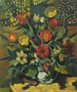 Theodor Kern - Still Life, Yellow and Red Flowers Arranged in a Vase