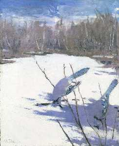 Abbott Handerson Thayer - Blue Jays in Winter, study for book Concealing Coloration in the Animal Kingdom
