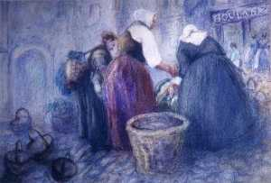 Katherine Beatrice Mcnaughton Mowry - (Peasant Women Buying Vegetables), (painting)