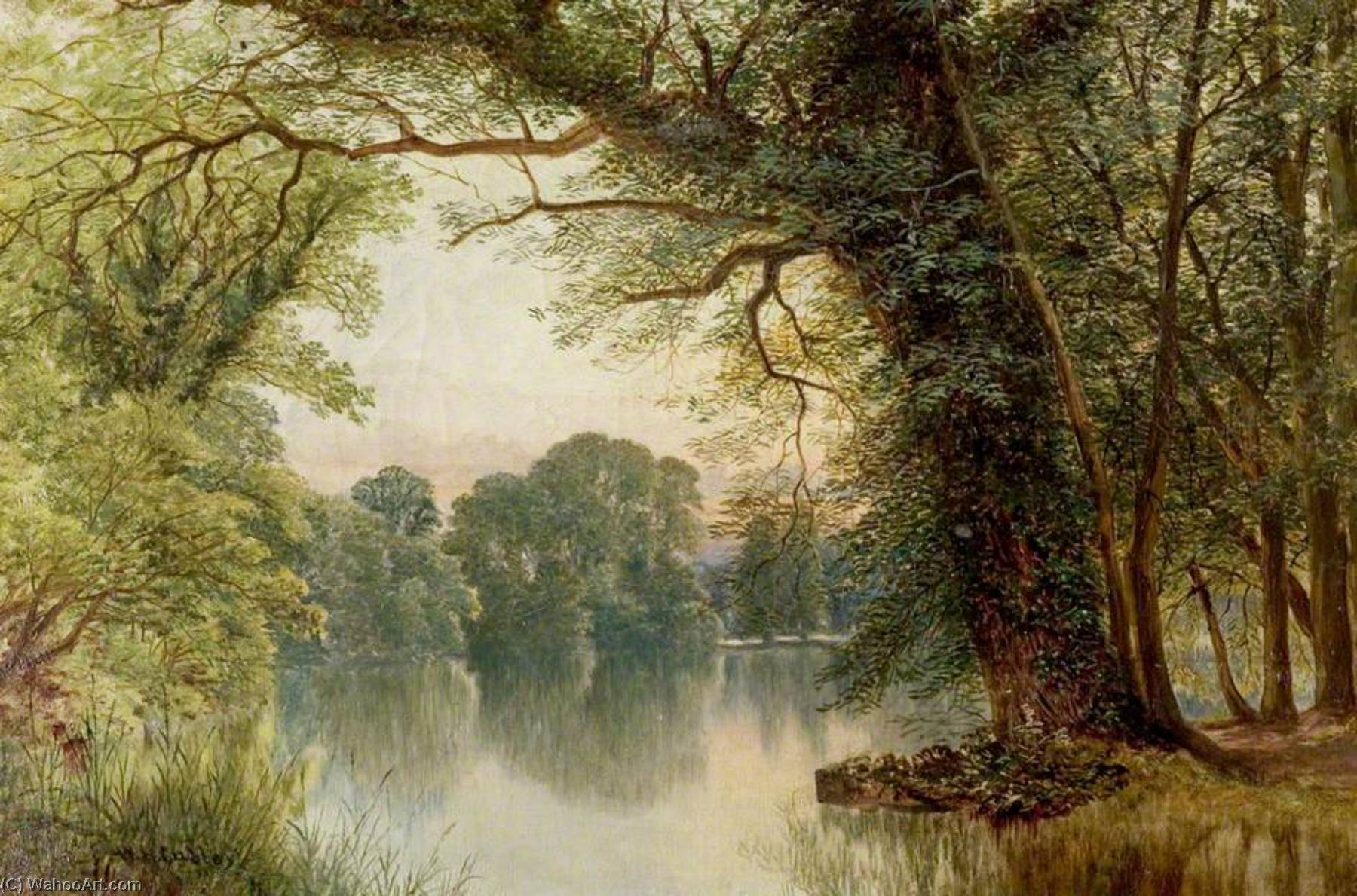 famous painting The Lake, Highfields, Nottingham of William Harold Cubley