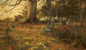 James Aumonier - An Easter Holiday, the Children of Bloomsbury Parochial School in a Wood at Watford