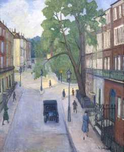 Stanislawa De Karlowska - A Corner of Russell Square, Russell Square from Montague Street, London
