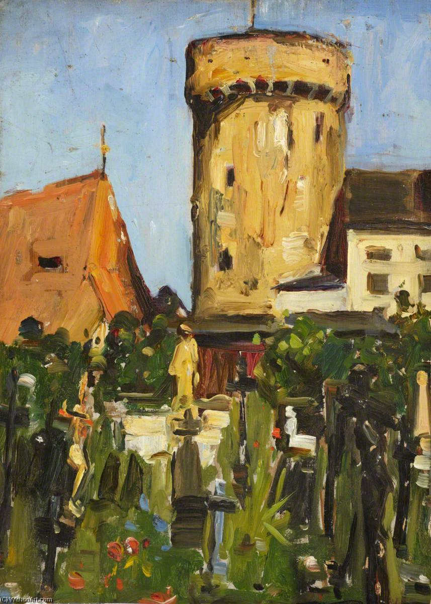 famous painting Church Tower of Maud Ireland Button