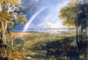 David Cox The Elder - Junction of the Severn and the Wye with a Rainbow