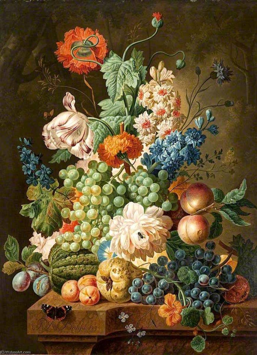 famous painting Fruit and Flowers on a Marble Table of Paul Theodor Van Brussel
