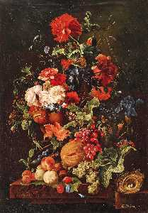 Emilie Preyer - Floral Still Life with Fruit and Bird's Nest