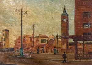 Beryl Clifton Bowyer - Street Scene with Ruined Market Tower, Coventry