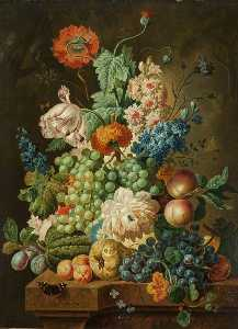 Paul Theodor Van Brussel - Fruit and Flowers on a Marble Table