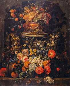 Gaspar Peeter De Verbruggen The Younger - Still Life with Fruit and Flowers