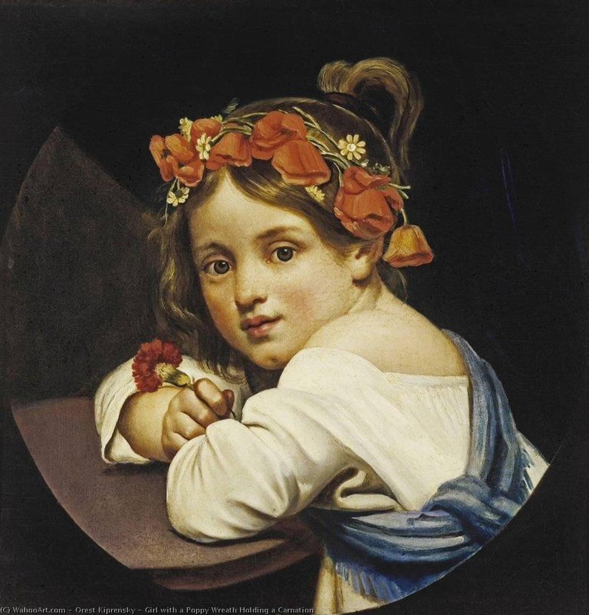 famous painting Girl with a Poppy Wreath Holding a Carnation of Orest Adamovich Kiprensky