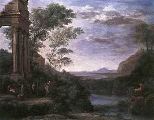 Claude Lorrain (Claude Gellée) - Landscape with Ascanius Shooting the Stag of Sylvia